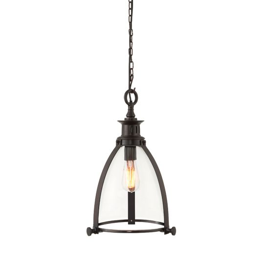 Endon Collection Storni Aged Bronze Plate & Clear Glass 1 Light Pendant Light 69766