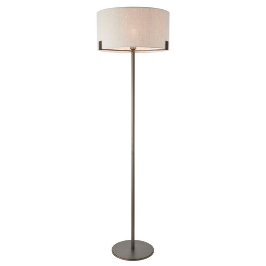 Endon Collection Hayfield Brushed Bronze Plate & Natural Linen 1 Light Floor Light 72634