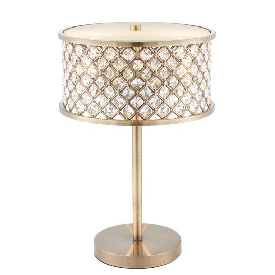 Endon Lighting Hudson Antique Brass Plate & Clear Crystal 2 Light Table Light 72749