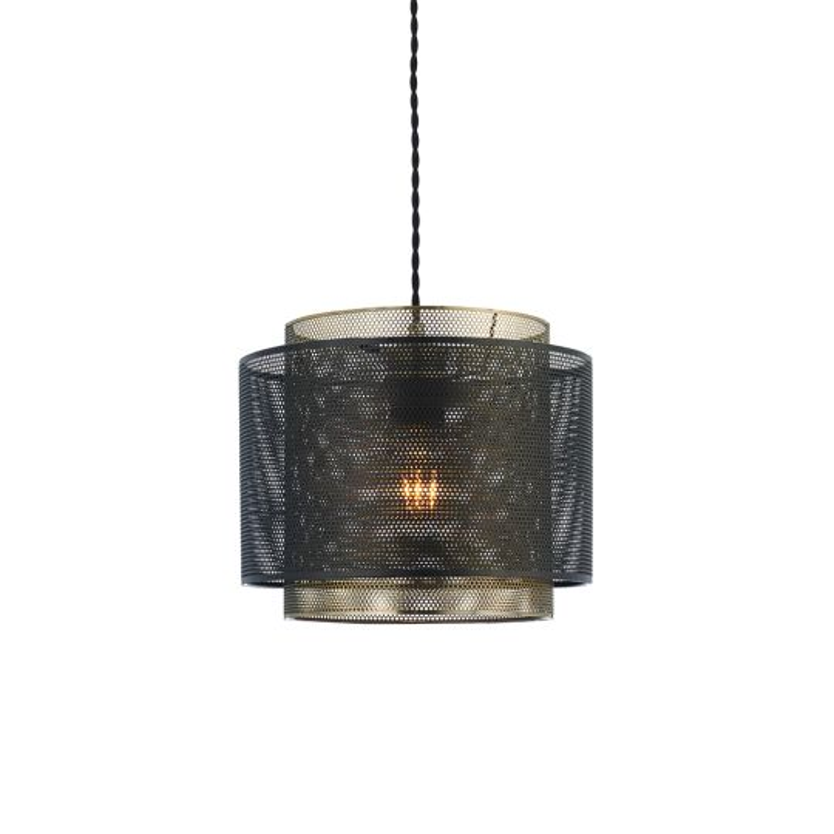 Endon Lighting Plexus Matt Black & Antique Brass Plate 1 Light Pendant Light 72831