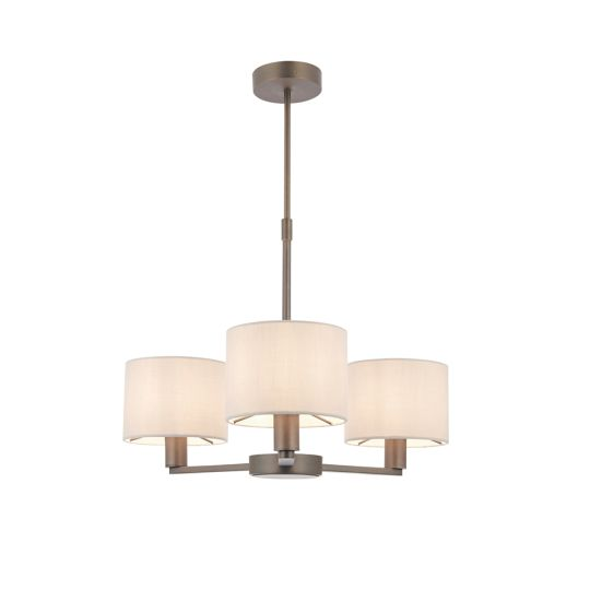 Endon Collection Daley Antique Bronze Plate & Marble Fabric 3 Light Pendant Light 73016