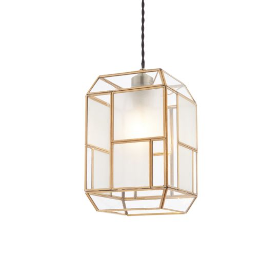 Endon Lighting Chatsworth Solid Brass & Clear/Frosted Glass 1 Light Pendant Light 73300