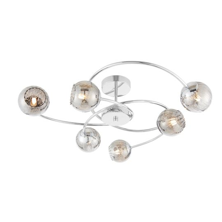 Endon Lighting Aerith Chrome Plate & Smoked Mirror Glass 6 Light Semi Flush Light 73582