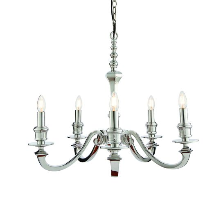 Endon Lighting Finsbury Polished Aluminium 5 Light Pendant Light 73598
