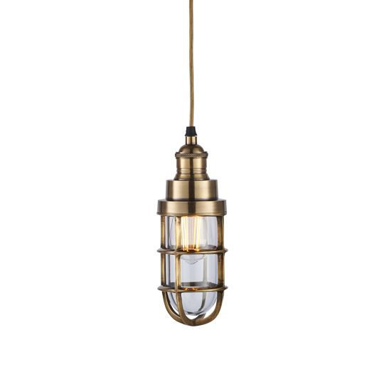 Endon Collection Elcot Solid Brass & Clear Glass 1 Light Pendant Light 75792