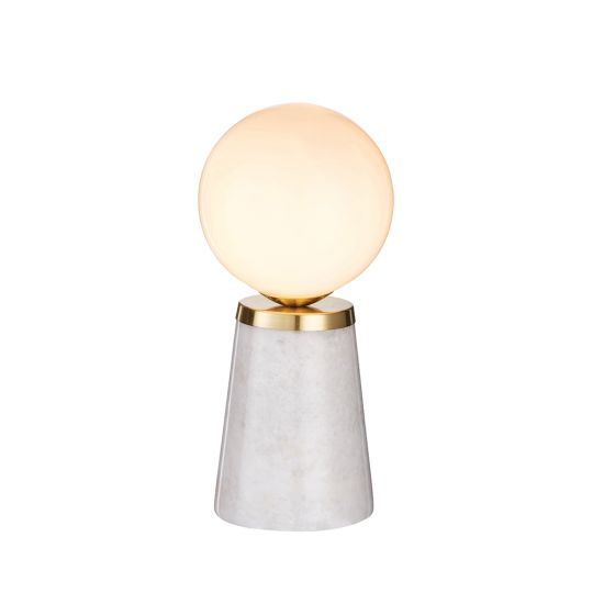 Endon Collection Otto Grey Marble & Satin Brass Plate 1 Light Table Light 75968