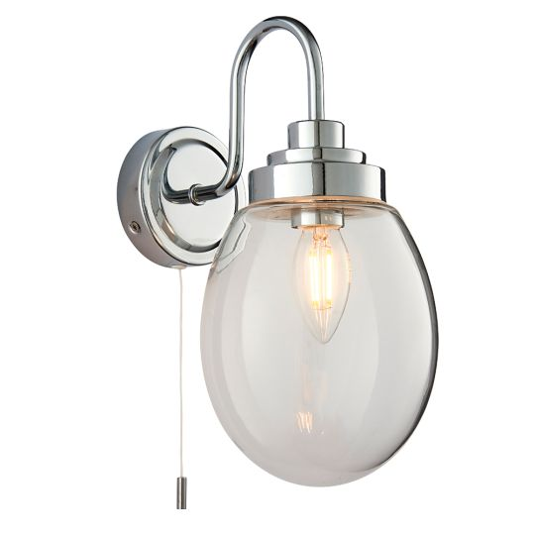 Endon Lighting Hampton Clear Glass & Chrome Plate 1 Light Bathroom Wall Light 76304