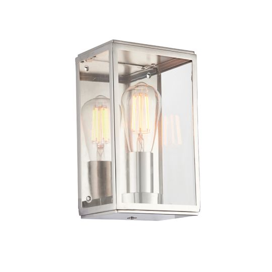 Endon Collection Hadden Bright Nickel Plate & Clear Glass 1 Light Wall Light 76348