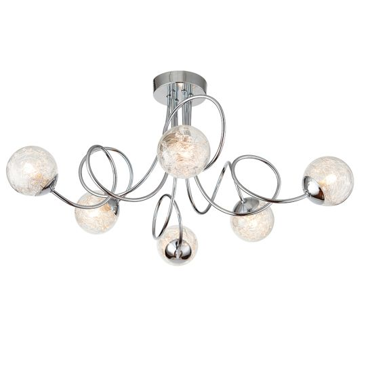 Endon Lighting Auria Chrome Plate With Clear Glass & Chrome Wire 6 Light Semi Flush Light 76349