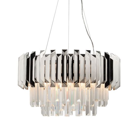 Endon Collection Valetta Clear Crystal & Polished Stainless Steel 6 Light Pendant Light 76430