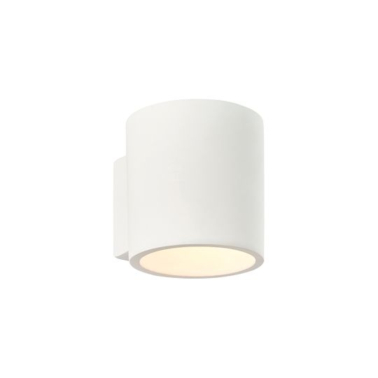Endon Collection Curve White Plaster & Gloss White 1 Light Wall Light 76536