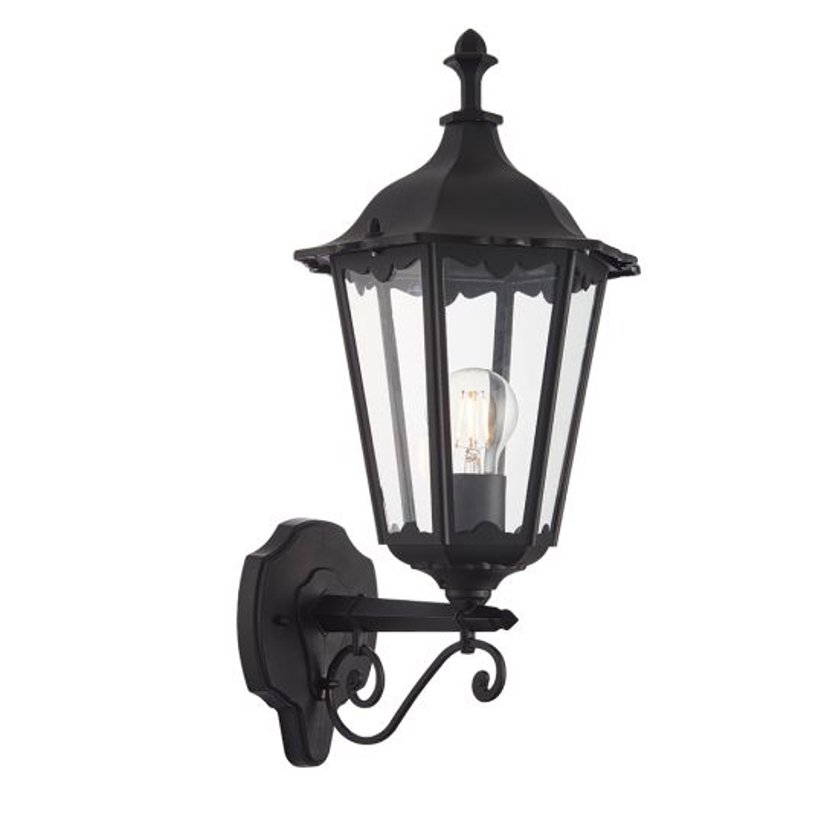Endon Lighting Burford Matt Black & Clear Glass 1 Light Outdoor Wall Light 76546