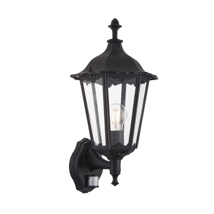 Endon Lighting Burford Matt Black & Clear Glass 1 Light Outdoor Wall Light 76548