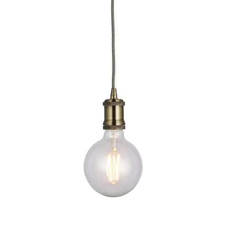 Endon Lighting Cambourne Antique Brass Plate 1 Light Pendant Light 76585
