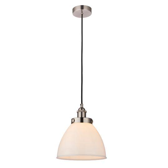 Endon Lighting Rowan Satin Nickel Plate & Opal Glass 1 Light Pendant Light 76758