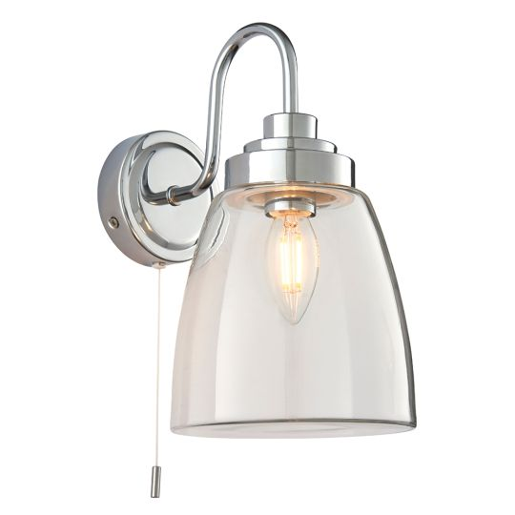 Endon Lighting Ashbury Clear Glass & Chrome Plate 1 Light Bathroom Wall Light 77088