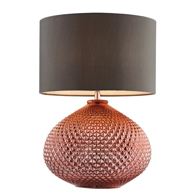 Endon Lighting Livia Copper Glass & Grey Fabric 1 Light Table Light 77097