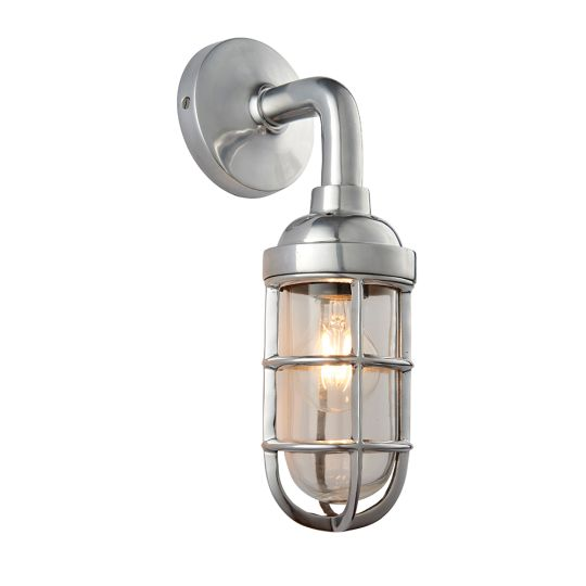 Endon Collection Elcot Polished Aluminium & Clear Glass 1 Light Wall Light 77276