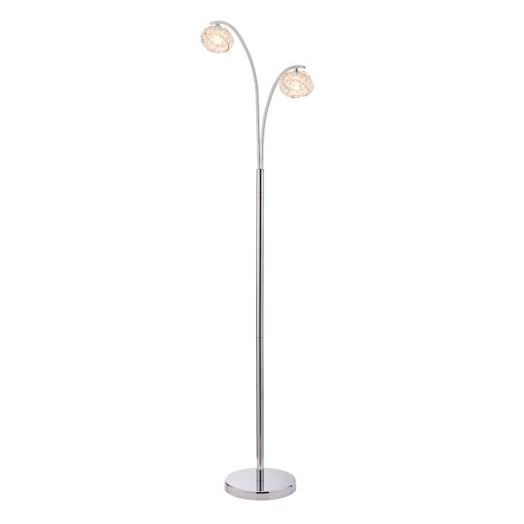 Endon Lighting Talia Chrome Plate & Clear Crystal 2 Light Floor Light 77569