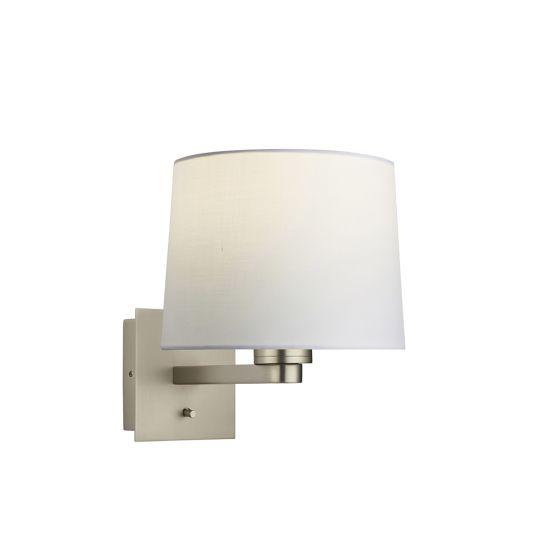 Endon Collection Issac Taper Matt Nickel Plate & Vintage White Fabric 1 Light Wall Light 78035