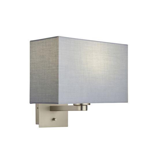 Endon Collection Issac Rectangular Matt Nickel Plate & Grey Fabric 1 Light Wall Light 78036