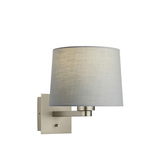 Endon Collection Issac Taper Matt Nickel Plate & Grey Fabric 1 Light Wall Light 78039