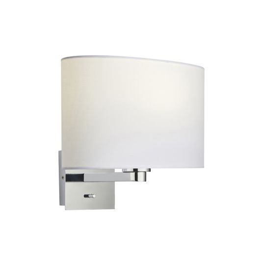 Endon Collection Issac Ellipse Chrome Plate & Vintage White Fabric 1 Light Wall Light 78042