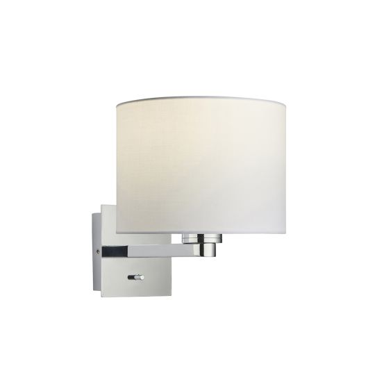 Endon Collection Issac Cylinder Chrome Plate & Vintage White Fabric 1 Light Wall Light 78043