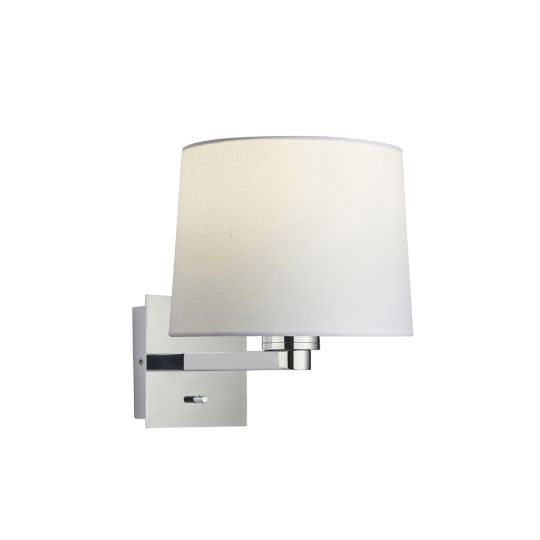 Endon Collection Issac Taper Chrome Plate & Vintage White Fabric 1 Light Wall Light 78059