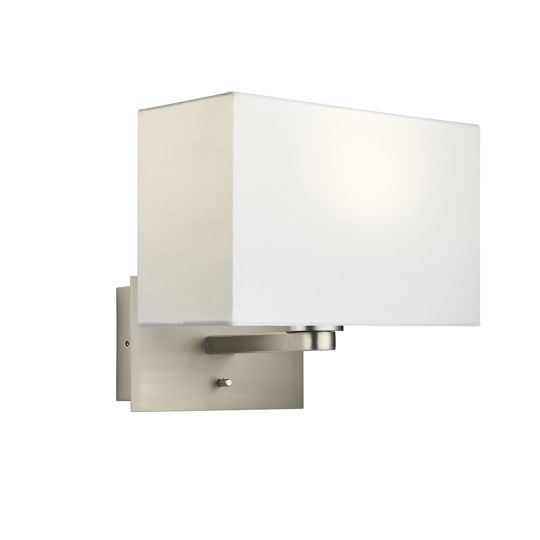 Endon Collection Issac Rectangular Matt Nickel Plate & Vintage White Fabric 1 Light Wall Light 78062