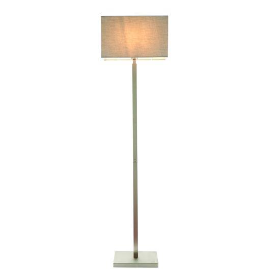 Endon Collection Norton Rectangular Matt Nickel Plate & Grey Fabric 1 Light Floor Light 78073