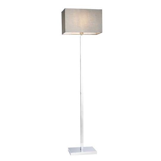 Endon Collection Norton Rectangular Chrome Plate & Grey Fabric 1 Light Floor Light 78076