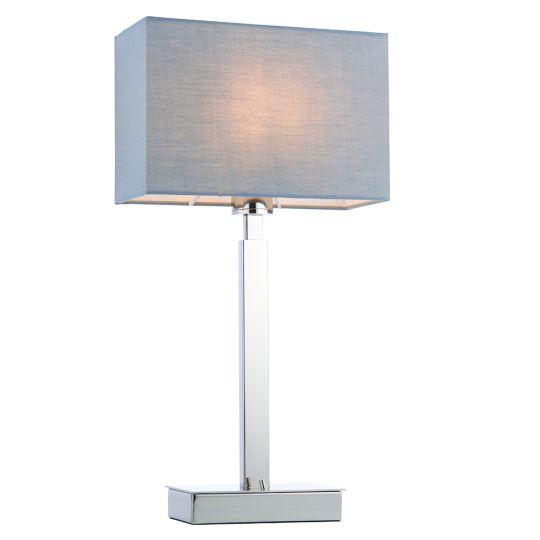 Endon Collection Norton Rectangular Chrome Plate & Grey Fabric 1 Light Table Light 78087