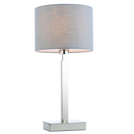 Endon Collection Norton Cylinder Chrome Plate & Grey Fabric 1 Light Table Light 78090