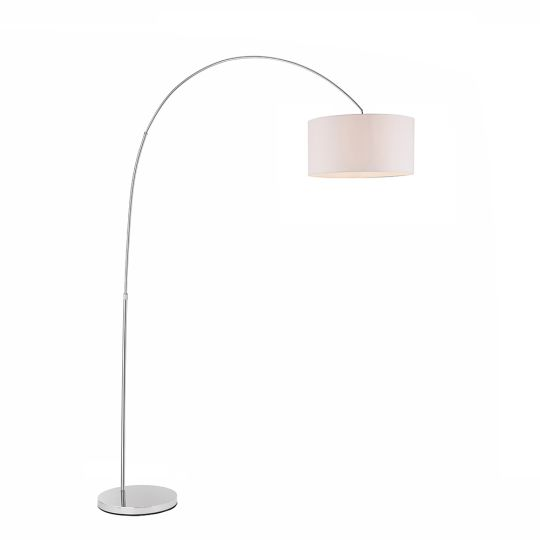 Endon Collection Owen Arched Cylinder Chrome Plate & Vintage White Fabric 1 Light Floor Light 78097