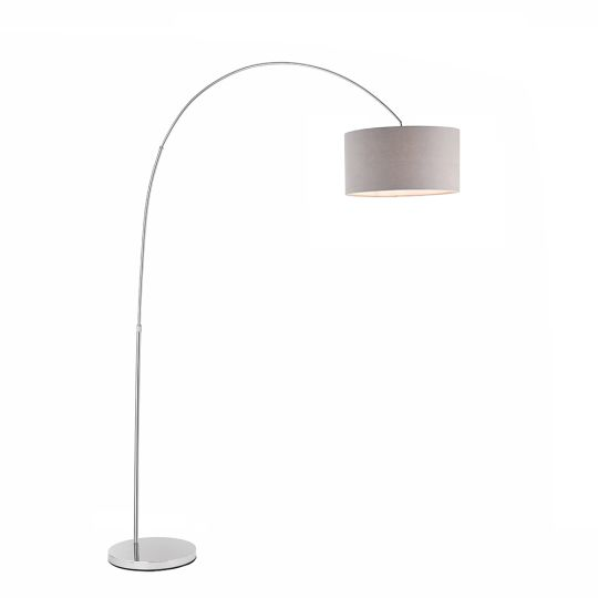 Endon Collection Owen Arched Cylinder Chrome Plate & Grey Fabric 1 Light Floor Light 78098