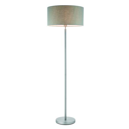 Endon Collection Owen Cylinder Matt Nickel Plate & Grey Fabric 1 Light Floor Light 78104