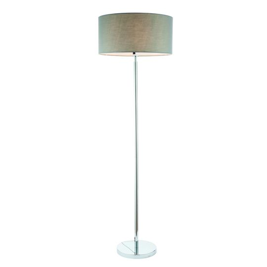 Endon Collection Owen Cylinder Chrome Plate & Grey Fabric 1 Light Floor Light 78106