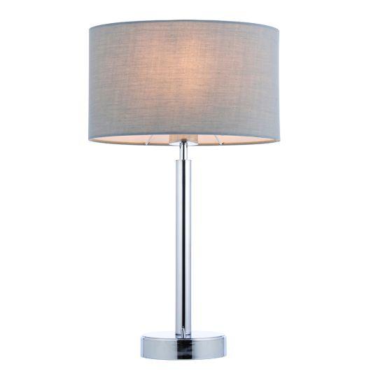Endon Collection Owen Ellipse Chrome Plate & Grey Fabric 1 Light Table Light 78113