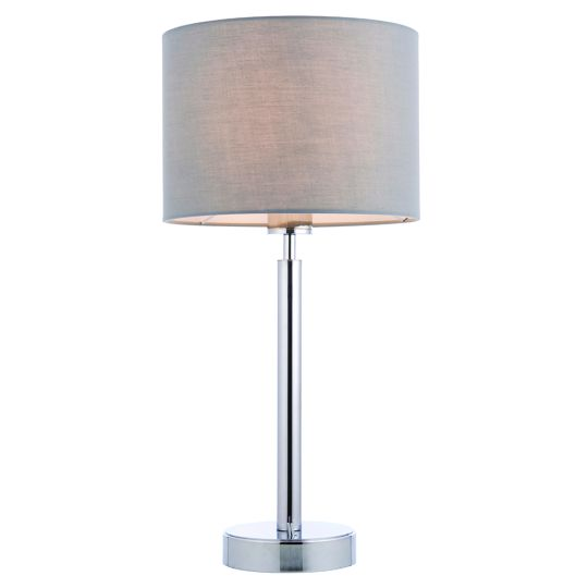 Endon Collection Owen Cylinder Chrome Plate & Grey Fabric 1 Light Table Light 78114