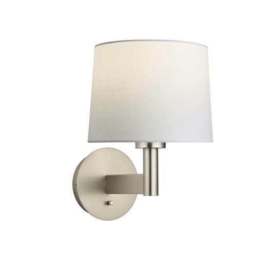 Endon Collection Owen Taper Matt Nickel Plate & Vintage White Fabric 1 Light Wall Light 78117