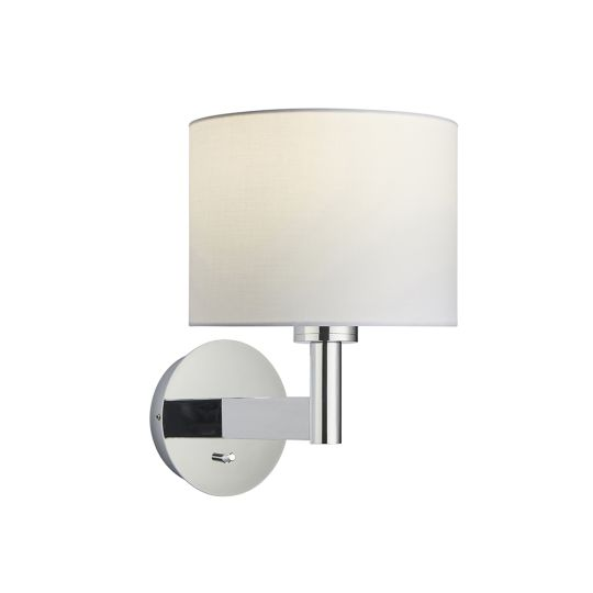 Endon Collection Owen Cylinder Chrome Plate & Vintage White Fabric 1 Light Wall Light 78124