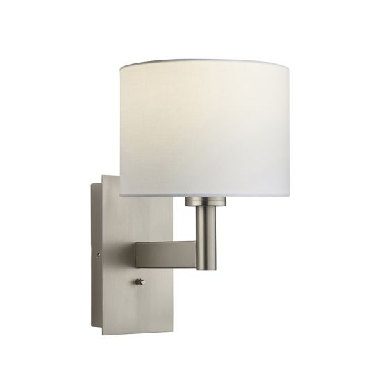 Endon Collection Owen Cylinder Matt Nickel Plate & Vintage White Fabric 1 Light Wall Light 78137