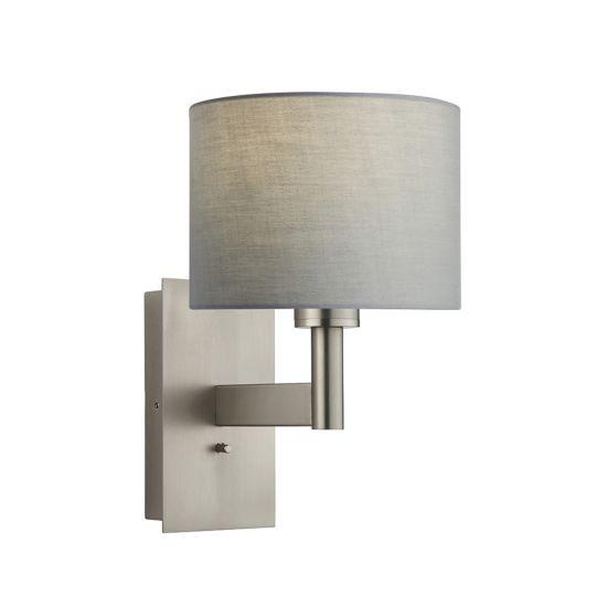Endon Collection Owen Cylinder Matt Nickel Plate & Grey Fabric 1 Light Wall Light 78140