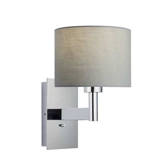 Endon Collection Owen Cylinder Chrome Plate & Grey Fabric 1 Light Wall Light 78148