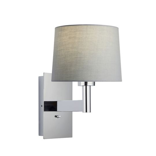 Endon Collection Owen Taper Chrome Plate & Grey Fabric 1 Light Wall Light 78150