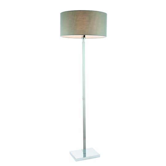 Endon Collection Norton Cylinder Chrome Plate & Grey Fabric 1 Light Floor Light 79272
