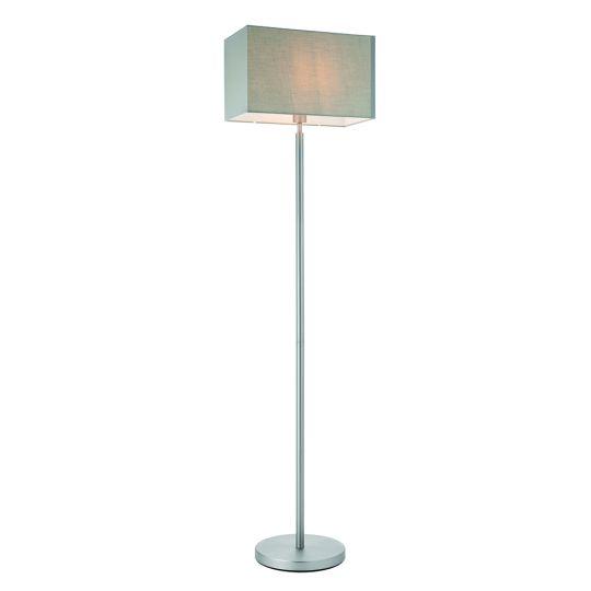 Endon Collection Owen Rectangular Matt Nickel Plate & Grey Fabric 1 Light Floor Light 79282