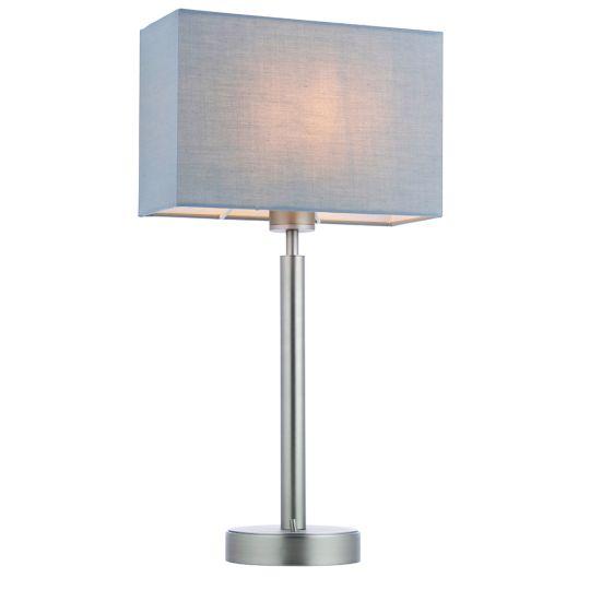 Endon Collection Owen Rectangular Matt Nickel Plate & Grey Fabric 1 Light Table Light 79286