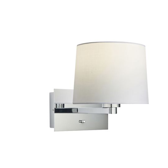 Endon Collection Issac Taper Chrome Plate & Vintage White Fabric 1 Light Wall Light 79852